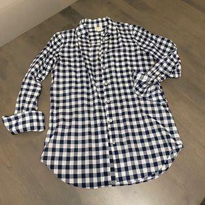 J Crew Gingham Button Up shirt